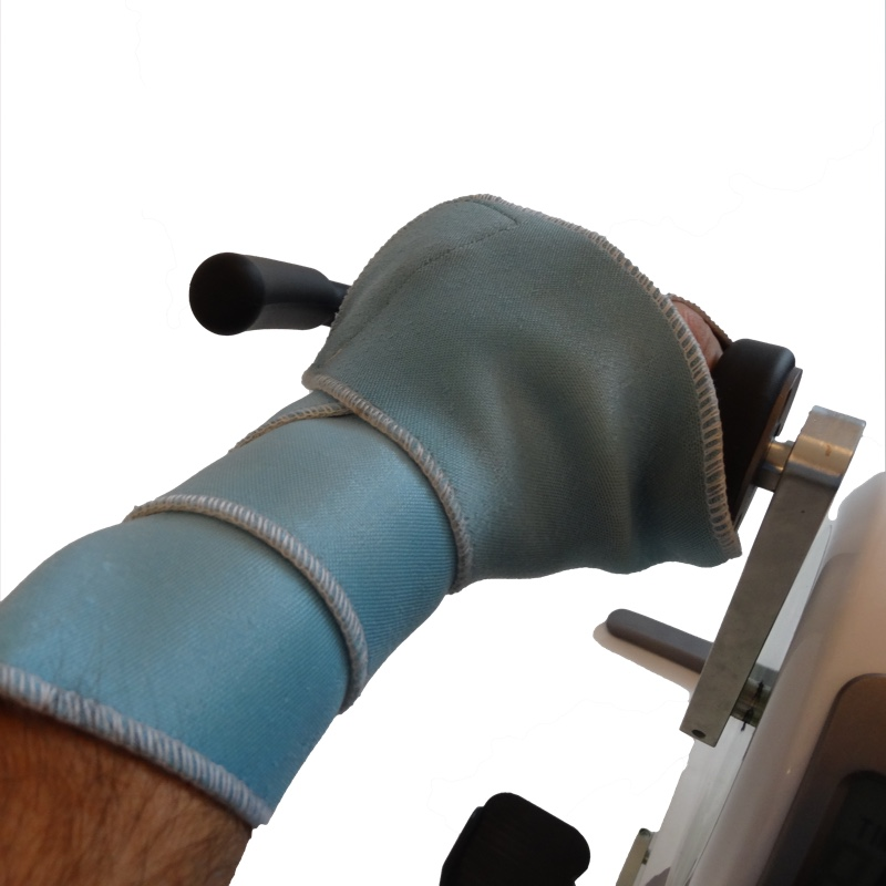 Nylatex to keep a paralysed hand on the handle