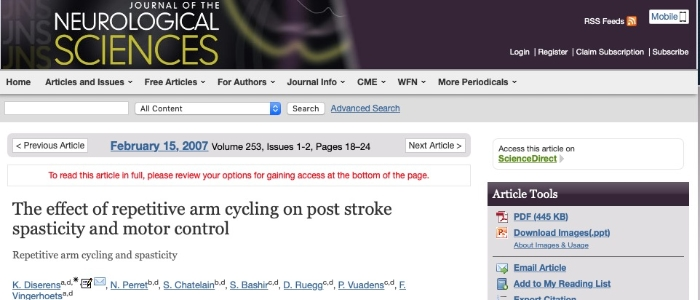 Effect on repetitive arm cycling on post stroke spasticity